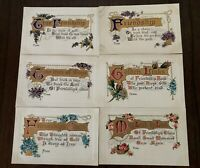 Lot of 6 ~Friendship~Flowers~ Antique ~Greetings~Postcards-Unused-a448