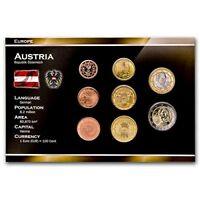 AUSTRIA 8 COINS SET: 1, 2, 5, 10, 20, 50 EURO CENT, 1, 2 EURO 2002-2015 UNC