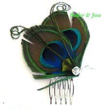 Peacock Feather Hair Comb Accessories Fascinator Handmade in UK 'Ella'