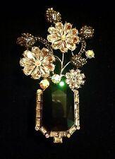 Vintage Antique Silver Black Onyx Rhinestone Fashion Pendant Brooch/ Pin