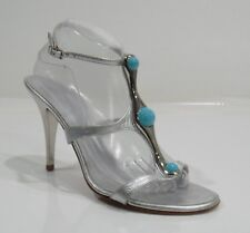 Giuseppe Zanotti Silver Leather Ankle Strap High-Heel Sandals Size 41/11