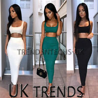 Womens Maxi Skirt Crop Top 2 Piece Set Dress Ladies Bodycon Co ord Knit UK 6-14