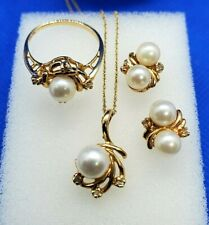 Captivating 14K Yellow-Gold Pearl and Diamond Necklace, Earrings, Ring Set