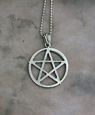 Med. Pewter Pentagram Necklace - Pentacle Magic Symbol Occult Pantacle Evocation