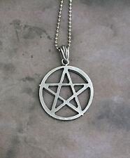 Med. Pewter Pentagram Necklace - Pentacle Magic Symbol Occult Pantacle Evocation
