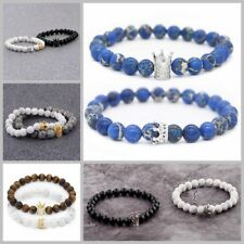 King Queen Crown His And Her Friendship 8mm Beads Couple Bracelets Charm Gift