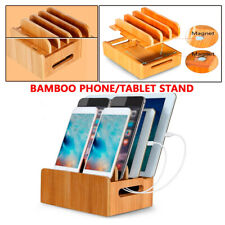 Bamboo Multi-device Organizer Stand Charging Station Dock SmartPhone iPad Tablet