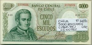 CHILE BUNDLE 25 NOTES 5000 ESCUDOS (1967-76) P 147b UNC