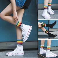Women Cotton Fashion Sport Rainbow Striped High Socks Hosiery Casual Stockings