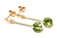 9ct Gold Peridot round long drop Earrings Made in UK Gift Boxed