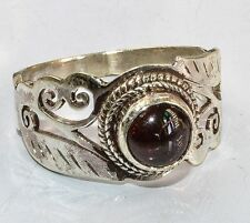 Sterling Silver Ethnic Asian Vintage Style Carnelian Stone Ring Size S 1/2 Gift
