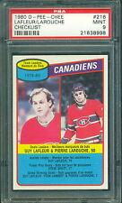 1980 81 OPC #216 LAFLEUR/LAROUCHE CANADIENS TEAM LEADERS PSA 9 MINT!!