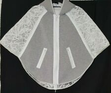 Elie Tahari Womens Caitlyn White Lace Hooded Cape Pullover Jacket Size Small