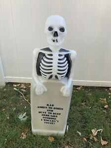 "Vintage SKELETON on TOMBSTONE BLOW MOLD~RIP~Halloween ~EMPIRE 35"""
