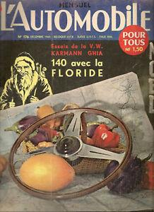 L'AUTOMOBILE 176 1960 CISITALIA PORSCHE 360 VW KARMANN GHIA RENAULT FLORIDE