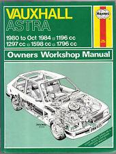 Vauxhall Astra 1980- Oct 1984 Haynes Owners Workshop Manual