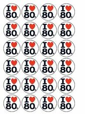 "30 x I Love The 80's Party 1.5"" Edible Cupcake / Cake Toppers Decorations"