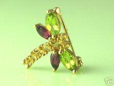 10K Gold Multi-Gem Dragonfly Pin Brooch, Pendant