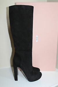 New Miu Miu / Prada Black Suede Platform Tall Boot Glitter Heel Shoe sz 10 / 40