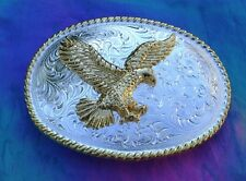 Western Rodeo Decor Raised Gold Eagle Bright Buckle