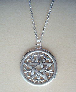 """Large Gothic Pentagram Pendant 34"""" Long Chain Necklace - Wiccan Pagan Gothic"""