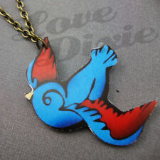 Lonesome Swallow Tattoo Necklace Blue Red Rockabilly Kitsch Emo DIY
