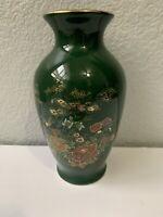"""Dark Green Ceramic Oriental Round Vase w/ Gold Rim 6.5"""" Tall Asian Flowers Birds"""