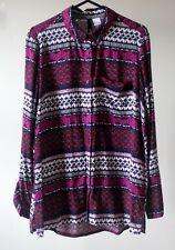 H&M Purple White Multi Floral Aztec Soft Blouse SIZE UK 10