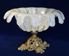 Vintage Venetian Murano White Hand Blown Art Glass Bowl Footed Dish Metal Base
