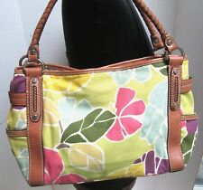 Fossil Floral Yellow Pink Canvas Braided Vegan Leather Zip Shoulder Bag Large