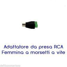 CONNETTORE RCA PRESA FEMMINA CON MORSETTI DC 2 POLI ADATTATORE SPINOTTO AUDIO