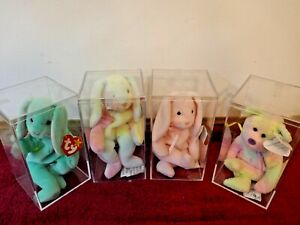 TY BEANIE BABIES EASTER BUNNY (3), BEAR (1) ORIG W/TAGS in plastic boxes 1990'S