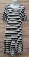Splendid Navy Blue White M Womens Dress Striped Lined T-Shirt Tunic Stretch Knit