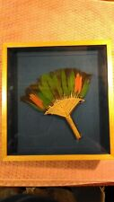 Parrot Feather Fan with Hand Woven Handle