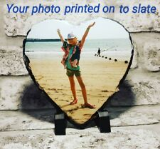 Personalised Heart Shaped Photo Print Slate Frame Gift Mothers Birthday Easter