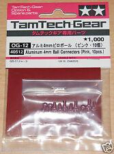 Tamiya 40512 Aluminum 4mm Ball Conectors (Pink,10 Pcs.) (GB01/GB-01), NIP