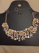 Flower Diamond Necklace Choker Costume Jewellery Gold Look