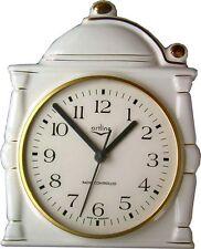 11990011F Keramik Kaffeekannenuhr weiß-gold handbemalt m.kleinem Fehler Funkuhr