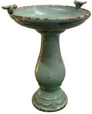 25 in. Turquoise Antique Ceramic Birdbath Distressed Glaze Weather-Resistant