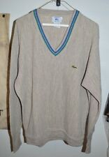 VTG IZOD Lacoste Men's Beige Tan Blue Green Trim Striped V-Neck Sweater Size L