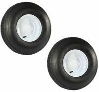 Two Trailer Tires On Rims 5.70-8 D 5 Lug Bolt Wheel White 570-8 570 8 8 Ply Rate