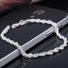 925 Sterling Silver Twisted Chain Ladies Bracelet Bangle Anklet Gifts Jewelry