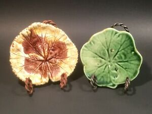 Antique Majolica Butter Pats Autumn Leaf and Green Lily Pad c.1800's