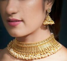 South Indian 22k Gold Plated Pearl Necklace Earrings Bollywood Fashion Jewelry