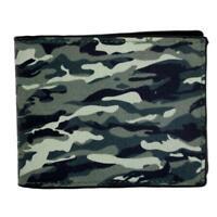 Camouflage Outside Men's Genuine Black Leather Bi Fold Wallet Military