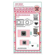 Uchi's Design Animation Card Craft Die + Stamp + Grid Set - Heart Envelopes