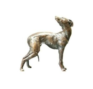 Whippet Standing Solid Bronze Miniature Sculpture Butler and Peach Boxed  (1070)