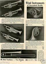 1939 PAPER AD Zalzer French Horn Mellophone Trombone Cornet Trumpet Commodore
