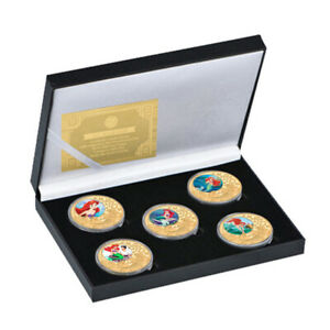 5 pcs Disney Little Mermaid Commemorative Colored Gold Plated Metal Coin in box