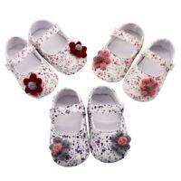 Newborn Baby Girls Flowers Print Shoes Applique Prewalker Soft Sole Single Shoes